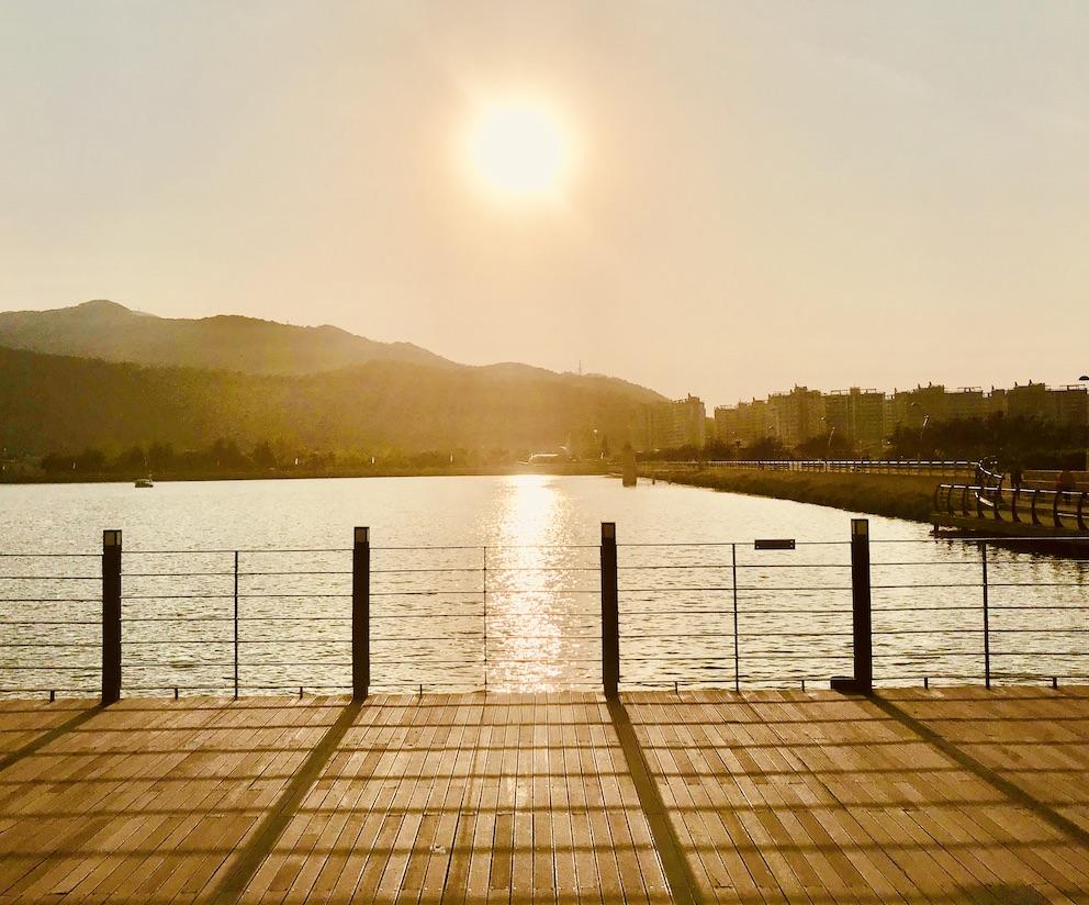 Sunset at Suseong Lake Daegu.