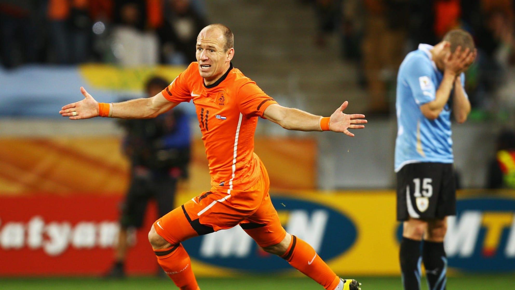 Arjen Robben goal Holland Uruguay 2010.