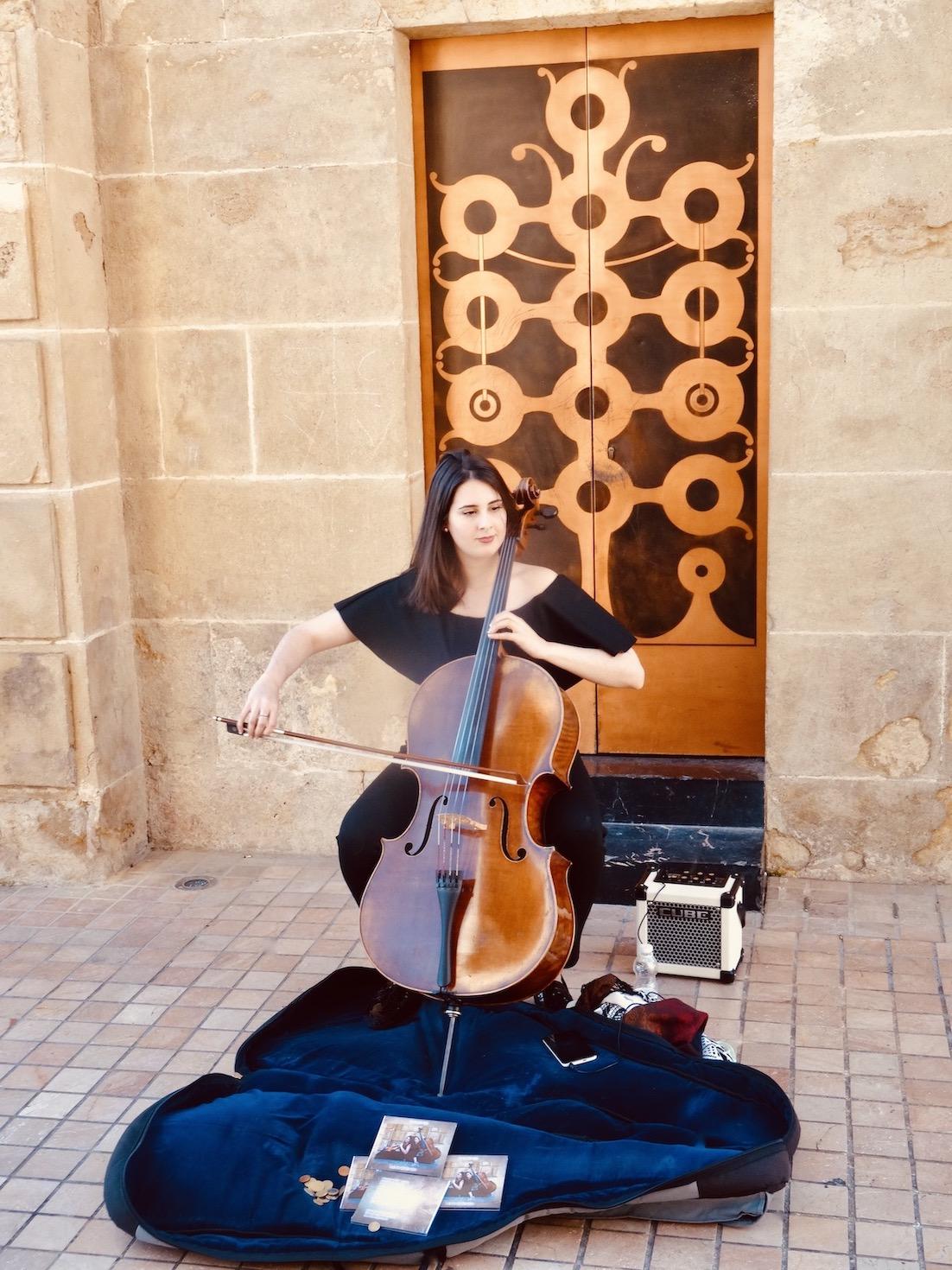 Celloist in Cordoba Spain.