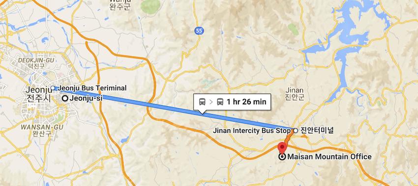 Jeonju to Maisan Mountain.