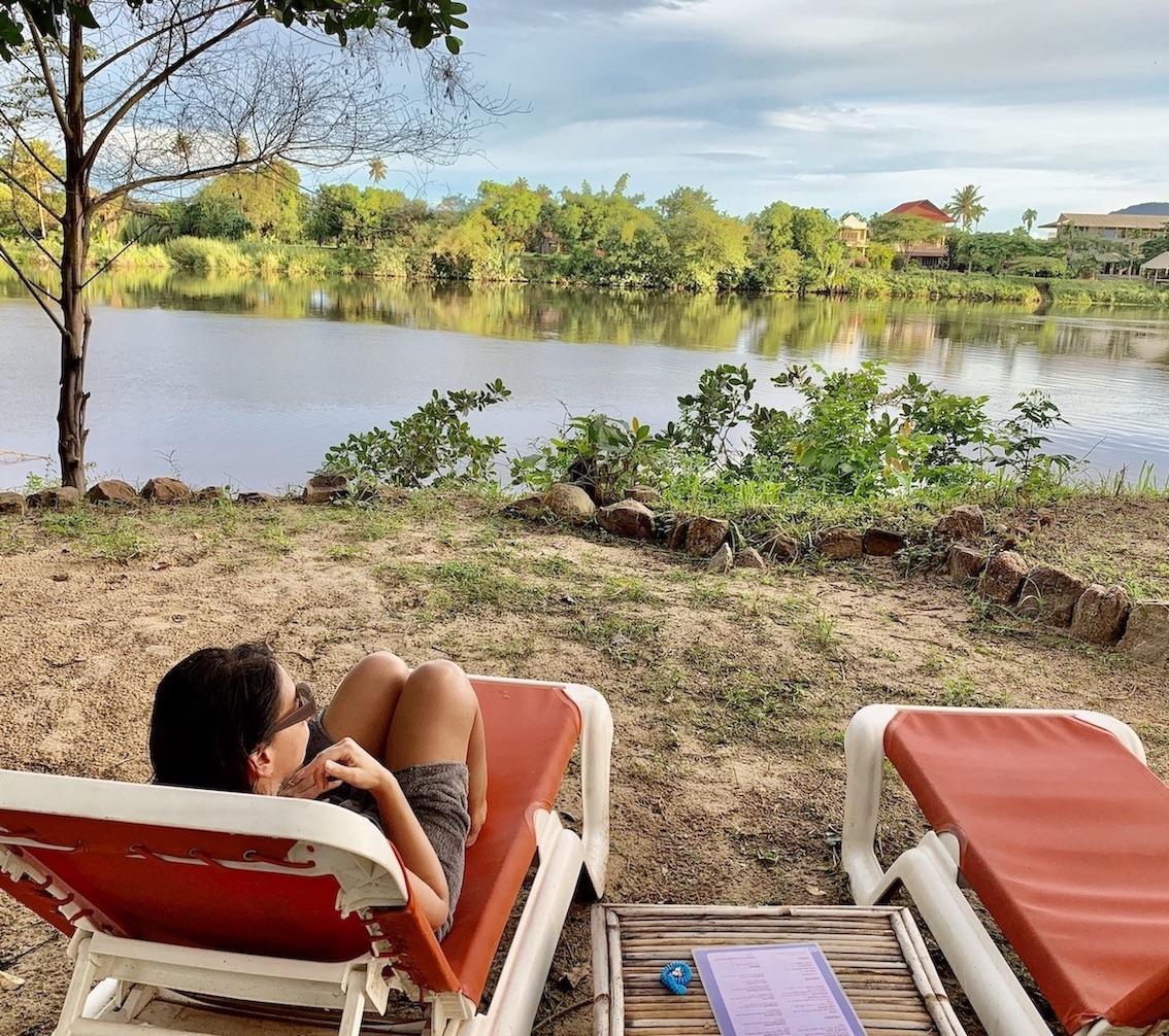 River gazing at Nibi Spa Kampot.