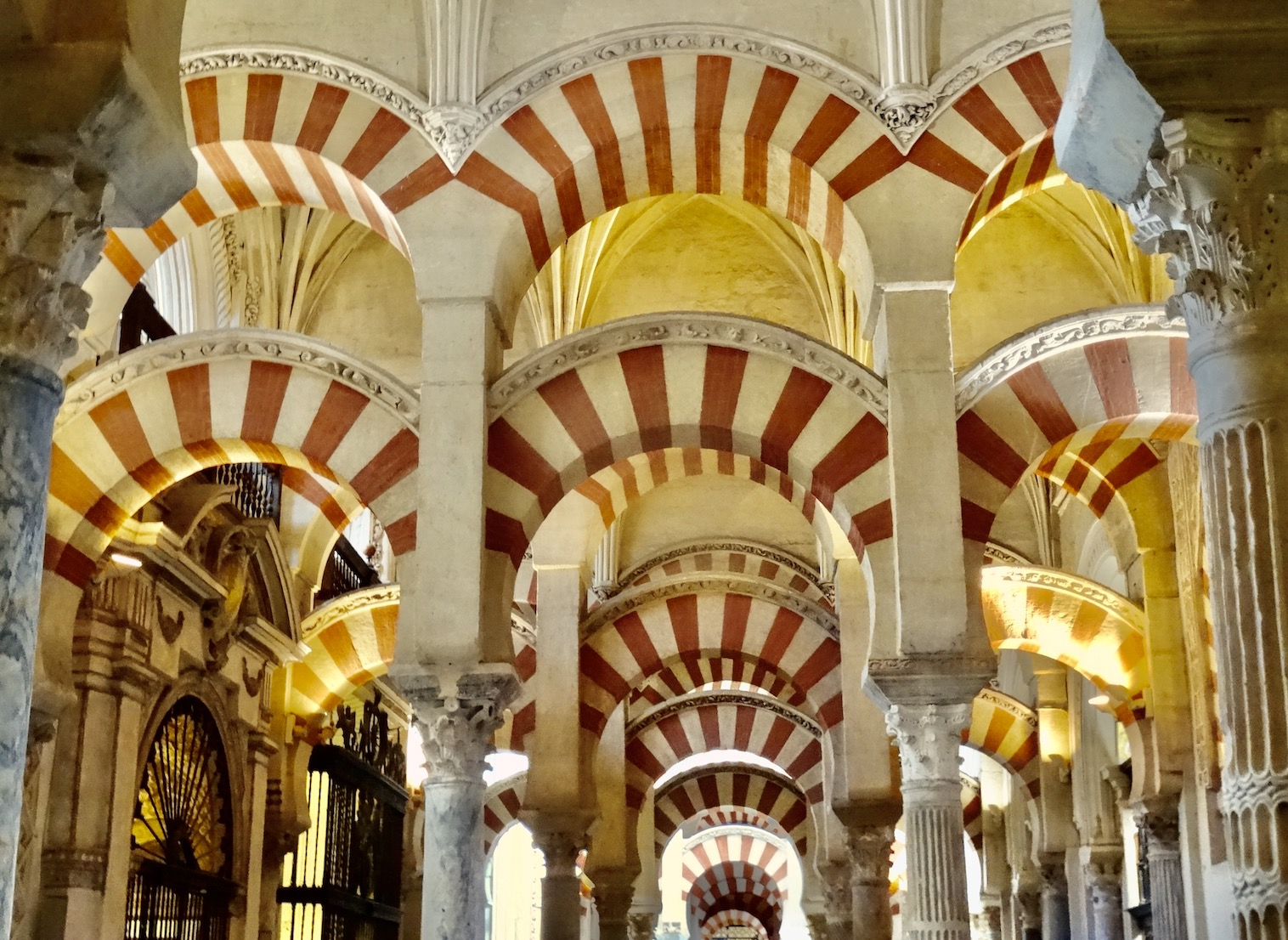 The Mezquita Arches Cordoba Spain.