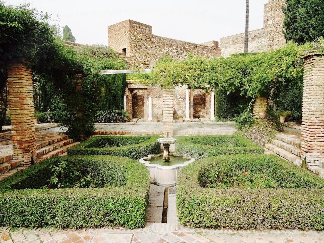 Ancient palace garden Malaga Alcazaba