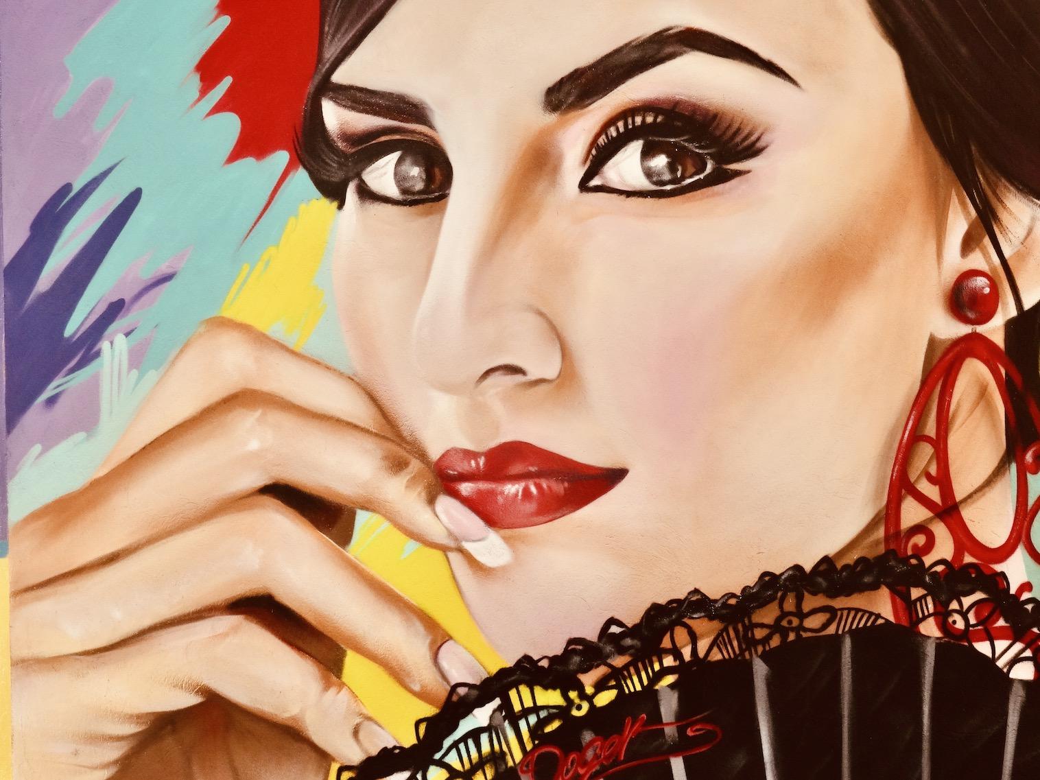 Andalusian woman mural Malaga street art