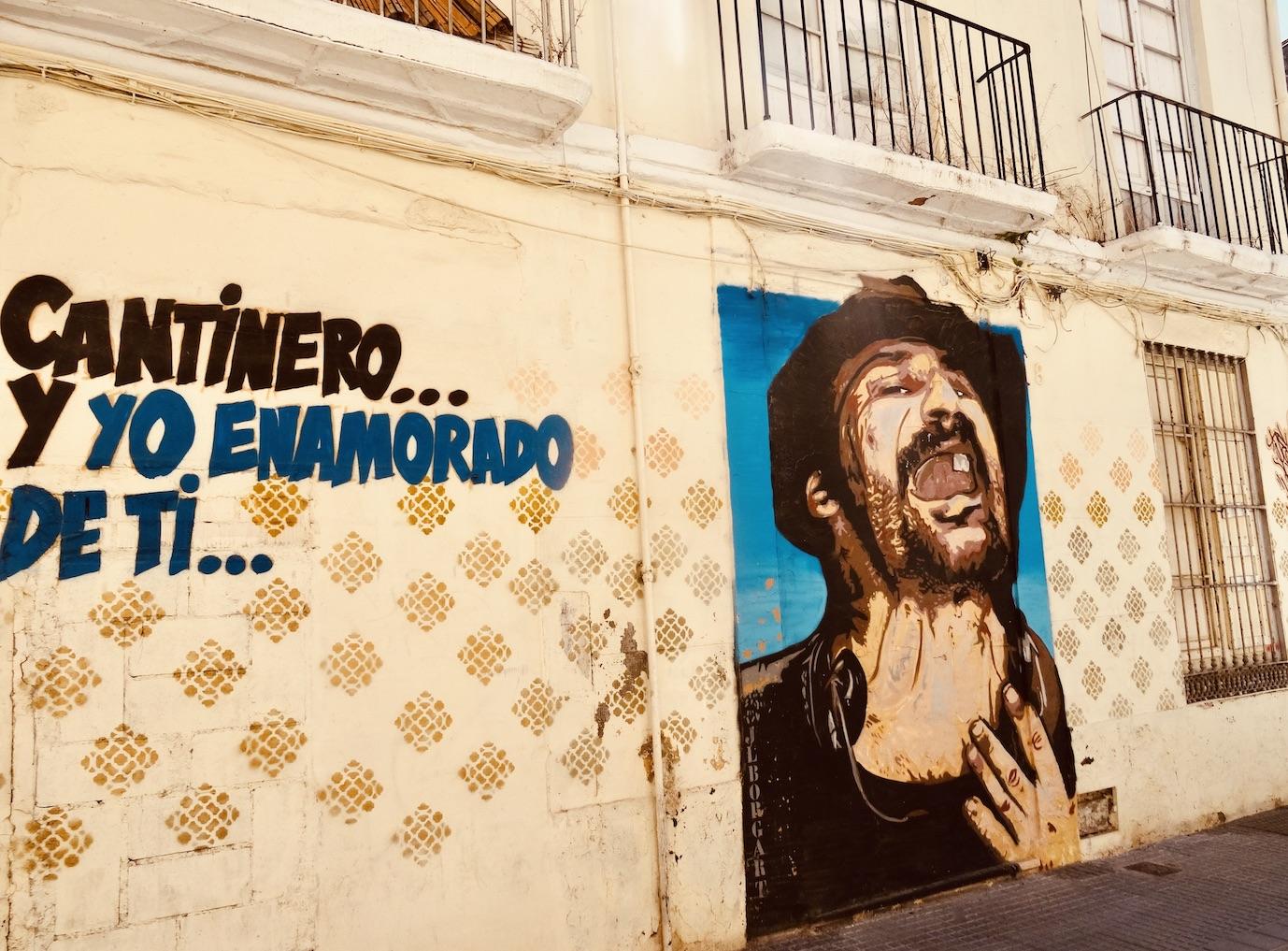 El Chamorro Singer mural Malaga.
