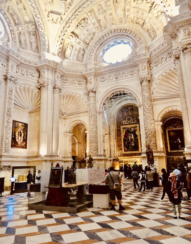 Inside Seville Cathedral.