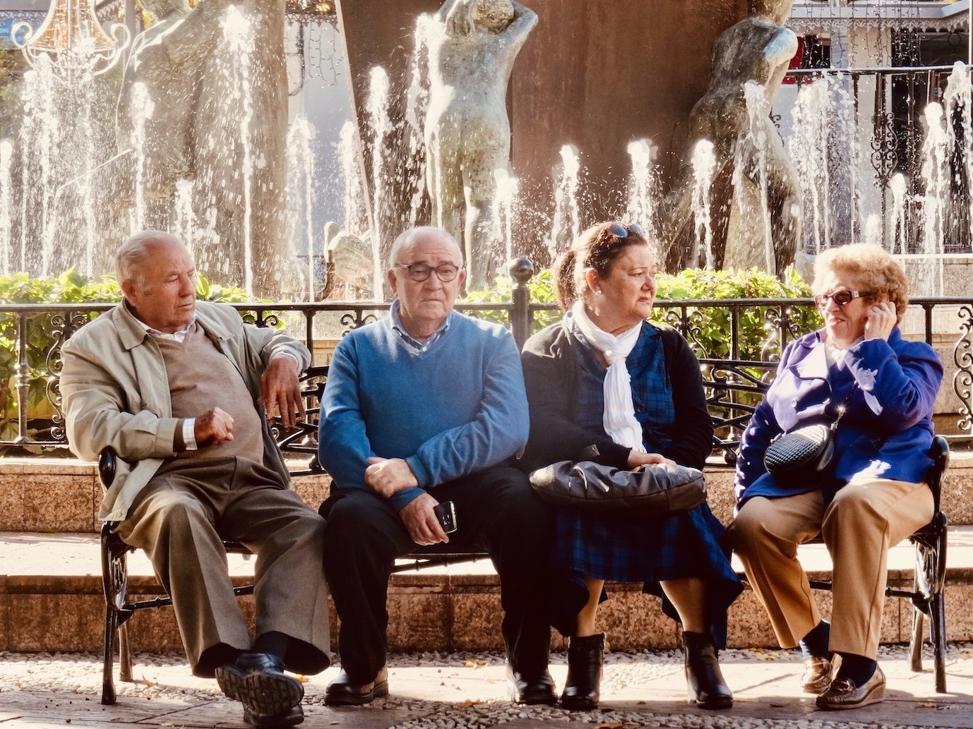Old people Plaza de la Constitucion Fuengirola