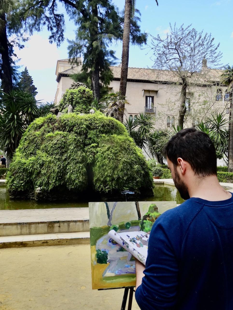 Painter The Alcazar Palace Gardens.