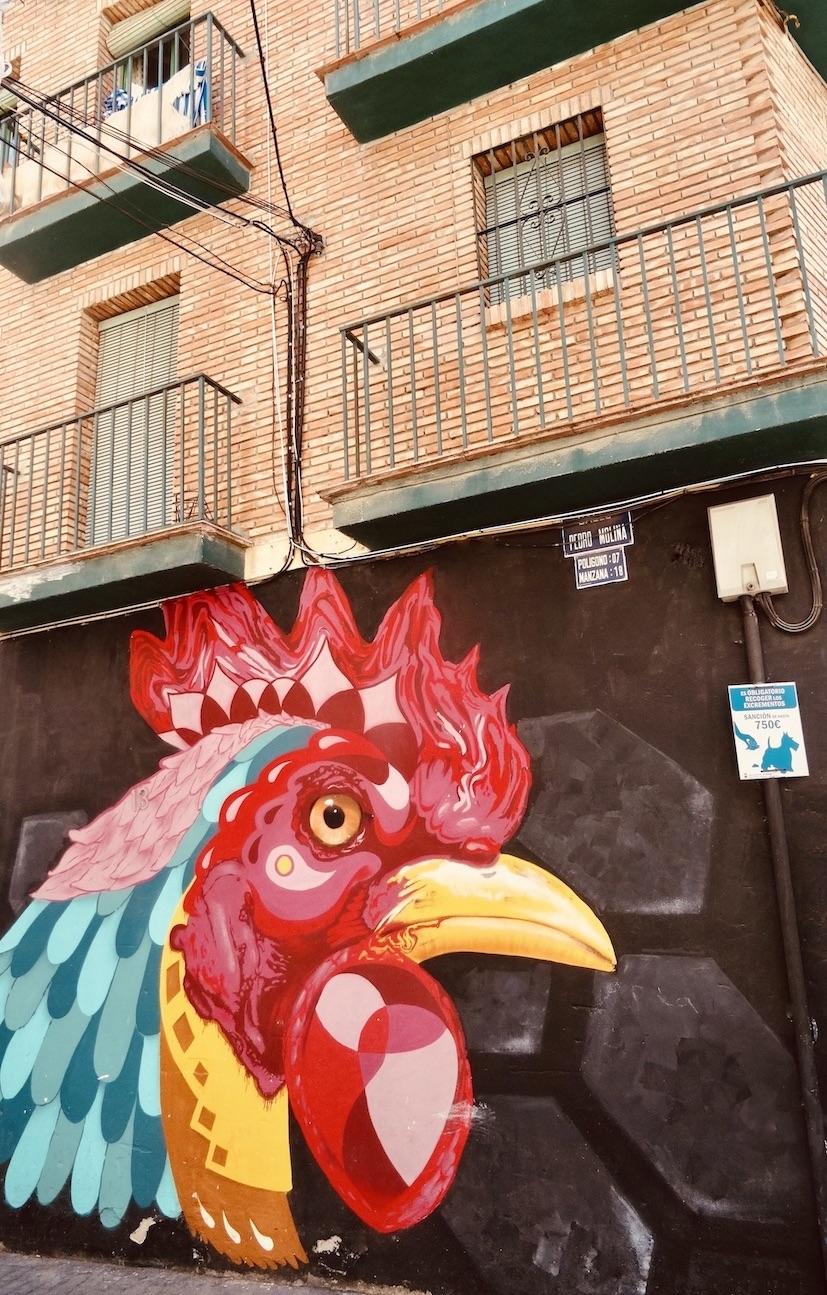 Rooster street art Malaga.