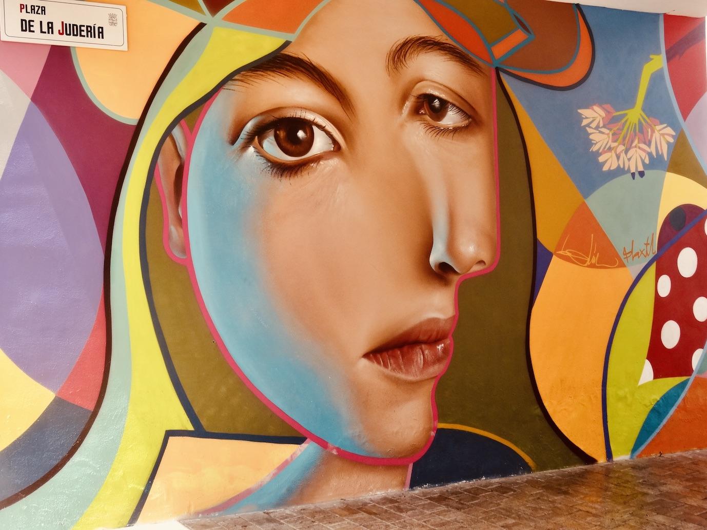 Street art Plaza de la Juderia Malaga.