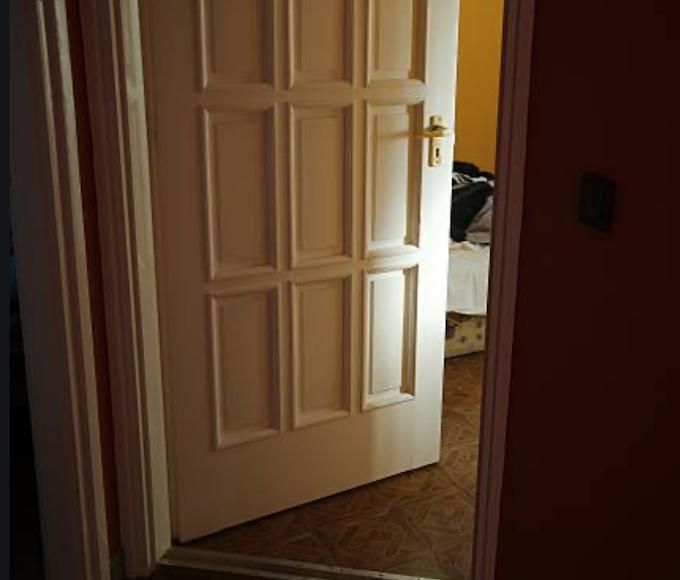 Bedroom door ajar.