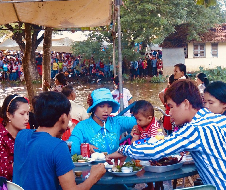 Street market food Bon Om Touk Water Festival Siem Reap.