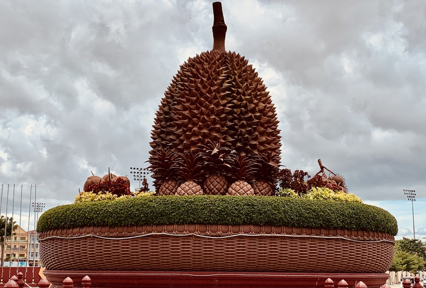 The Durian statue Roundabout Kampot.