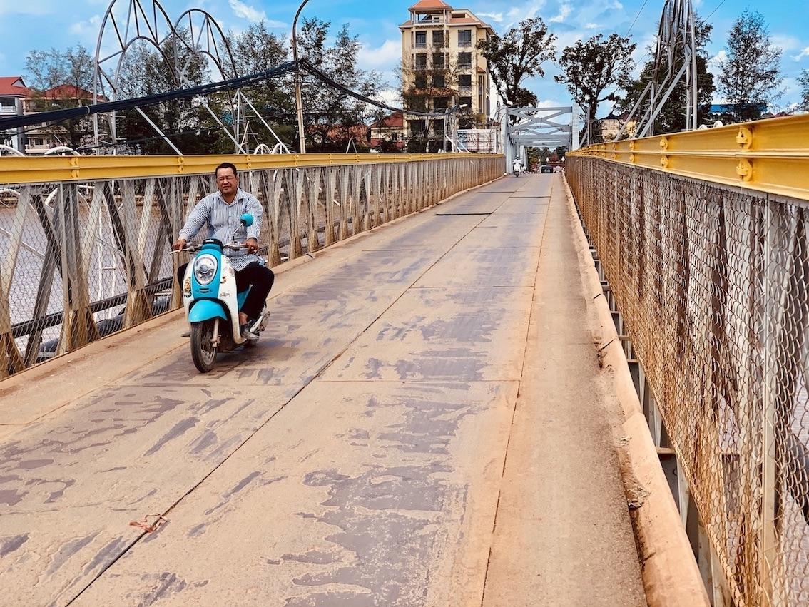 The Old French Bridge Kampot Cambodia.