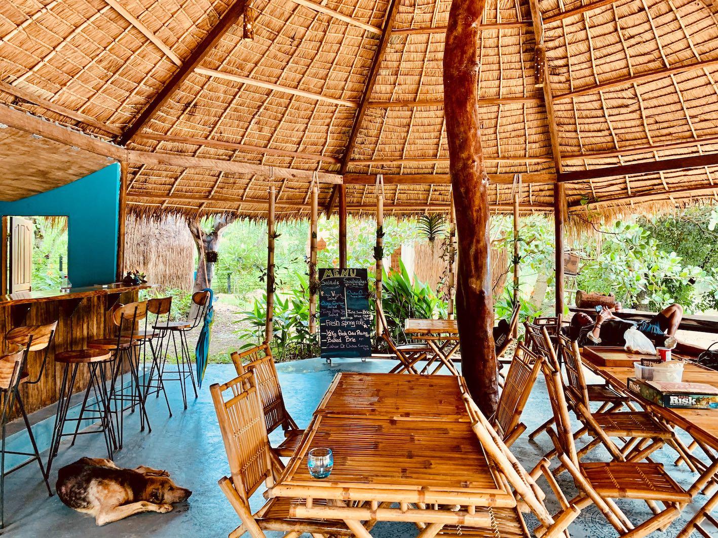 The restaurant at Nibi Spa Kampot Cambodia.