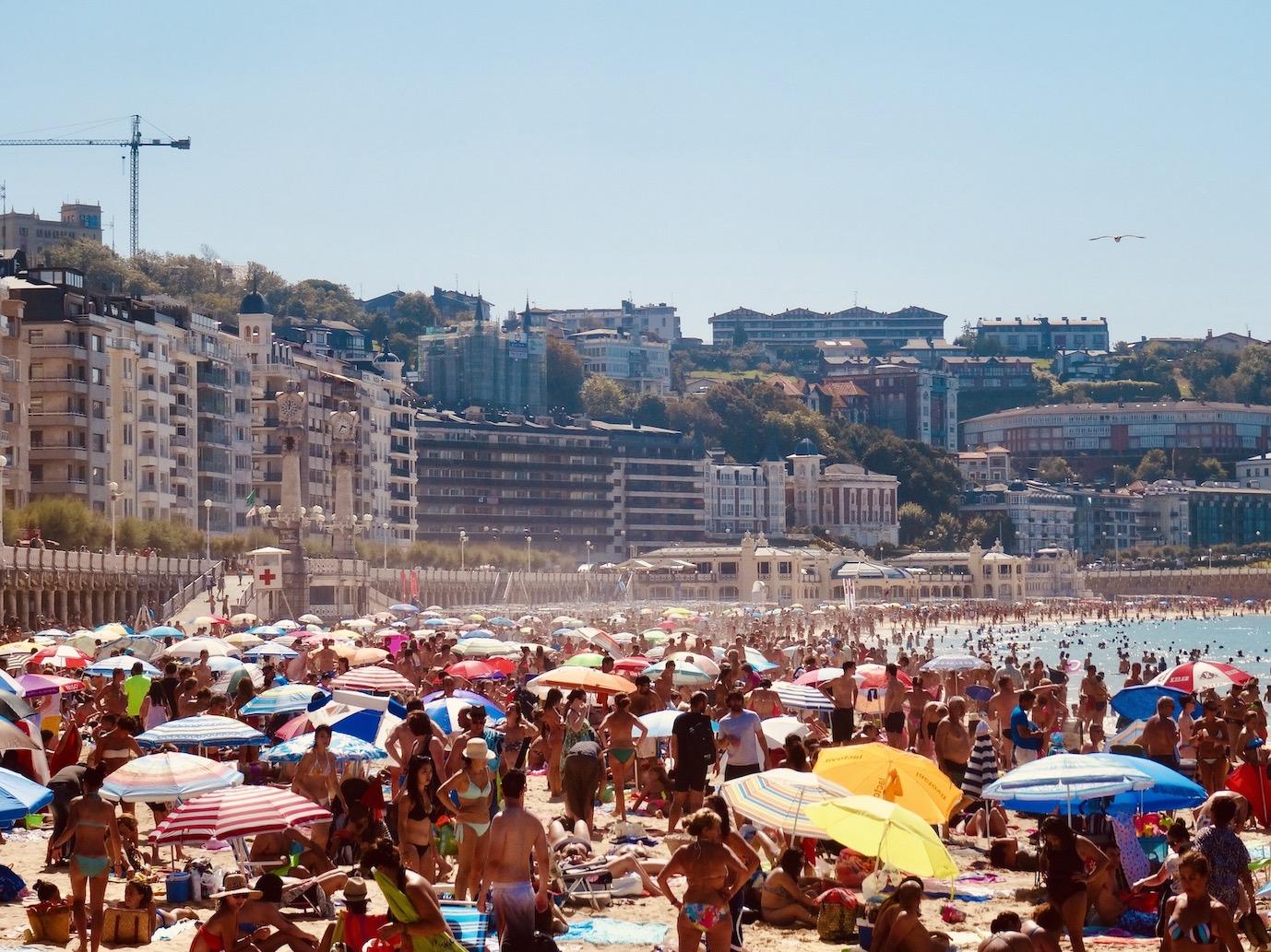 Crazy busy La Concha Beach San Sebastian