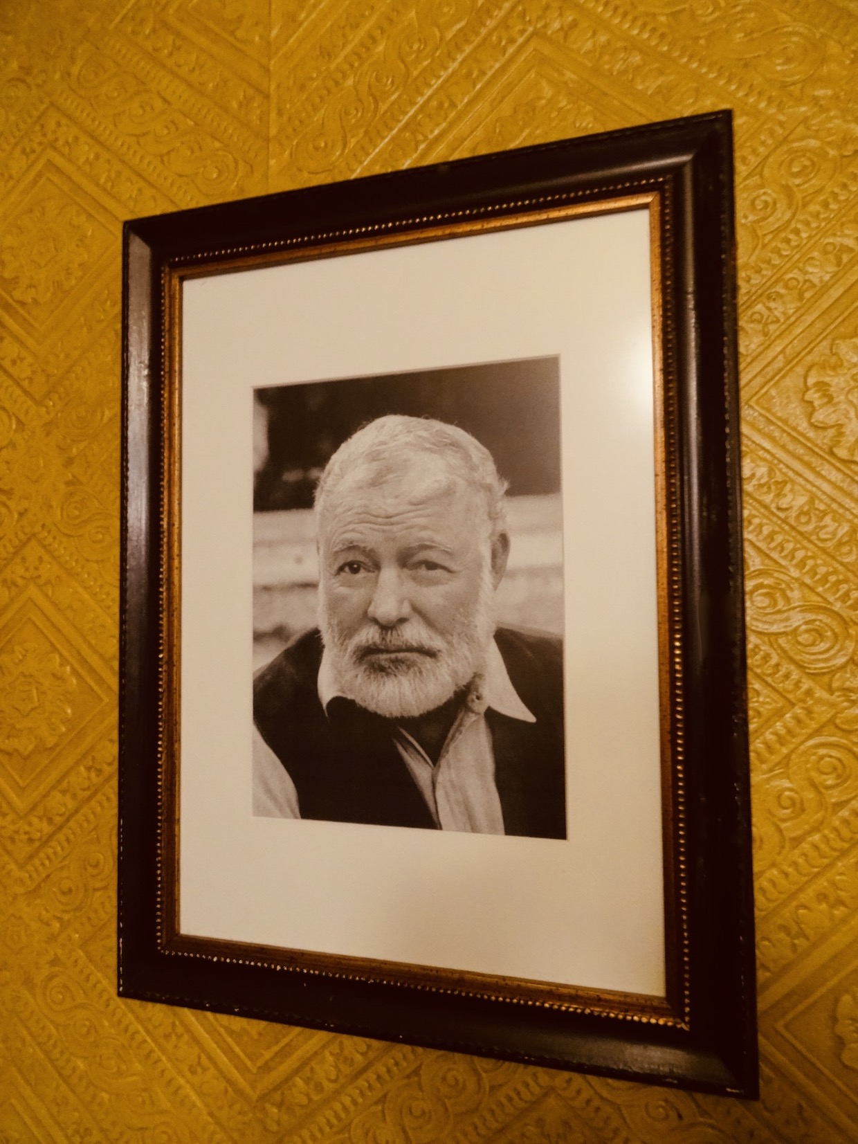 Framed Ernest Hemingway photograph Cafe Iruna