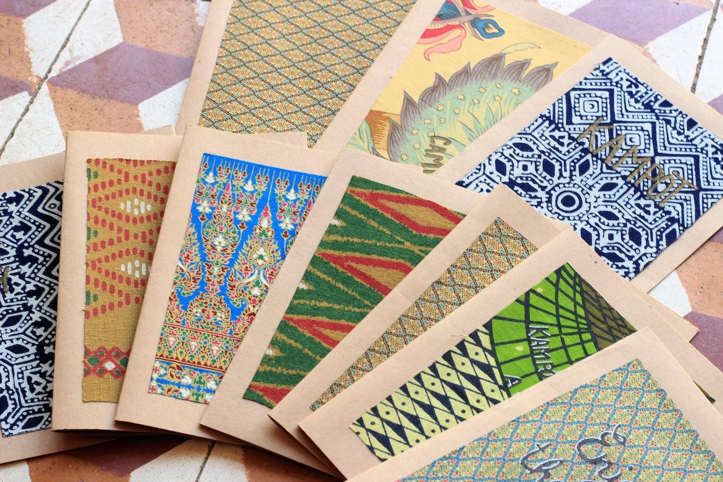 Handmade Kampot greeting cards.