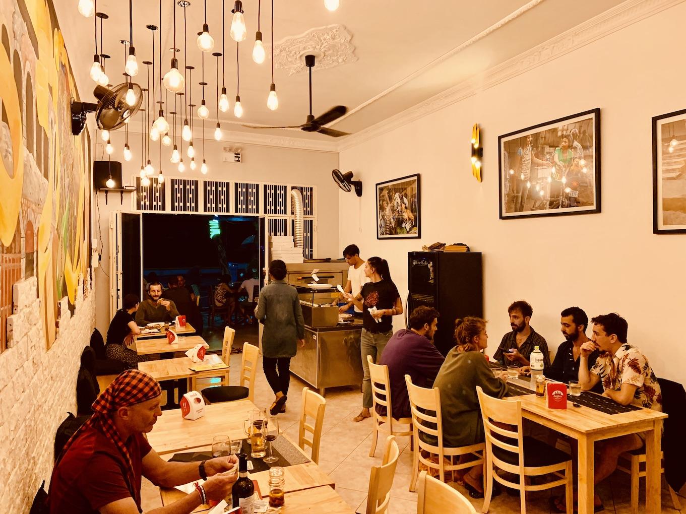 Inside Max's Restaurant Kampot.