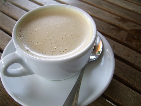 Milky coffee.
