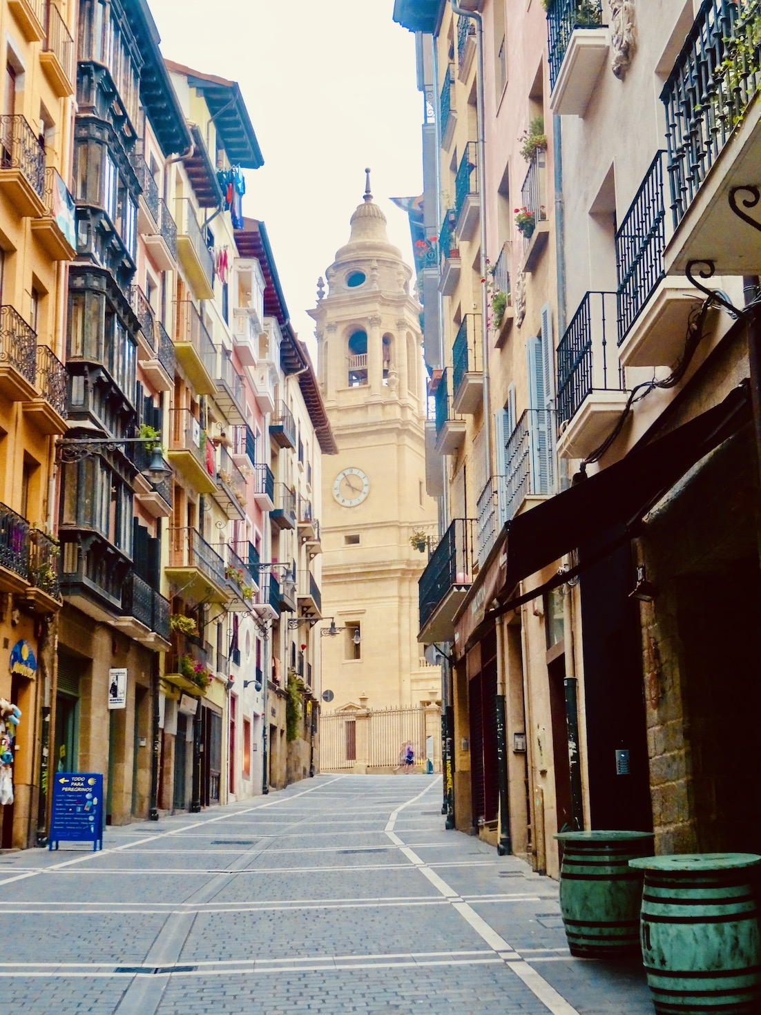 Pamplona Cathedral from Calle de la Curia.