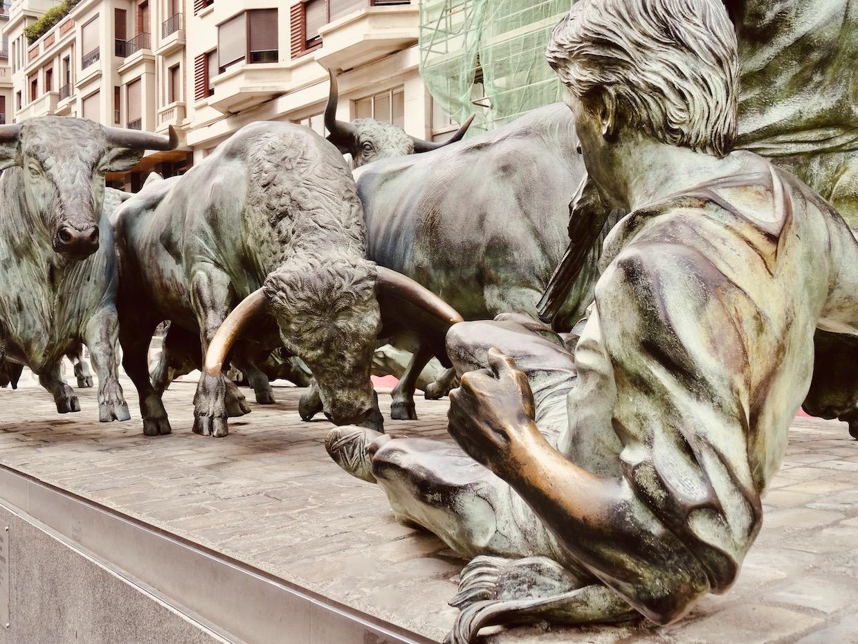 Running of the Bulls Statues Pamplona Spain