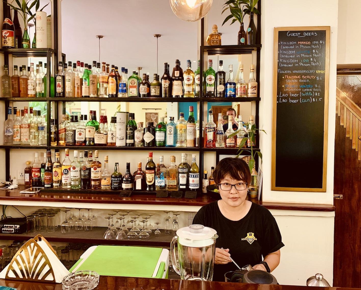 The bar at Hotel Old Cinema Kampot.