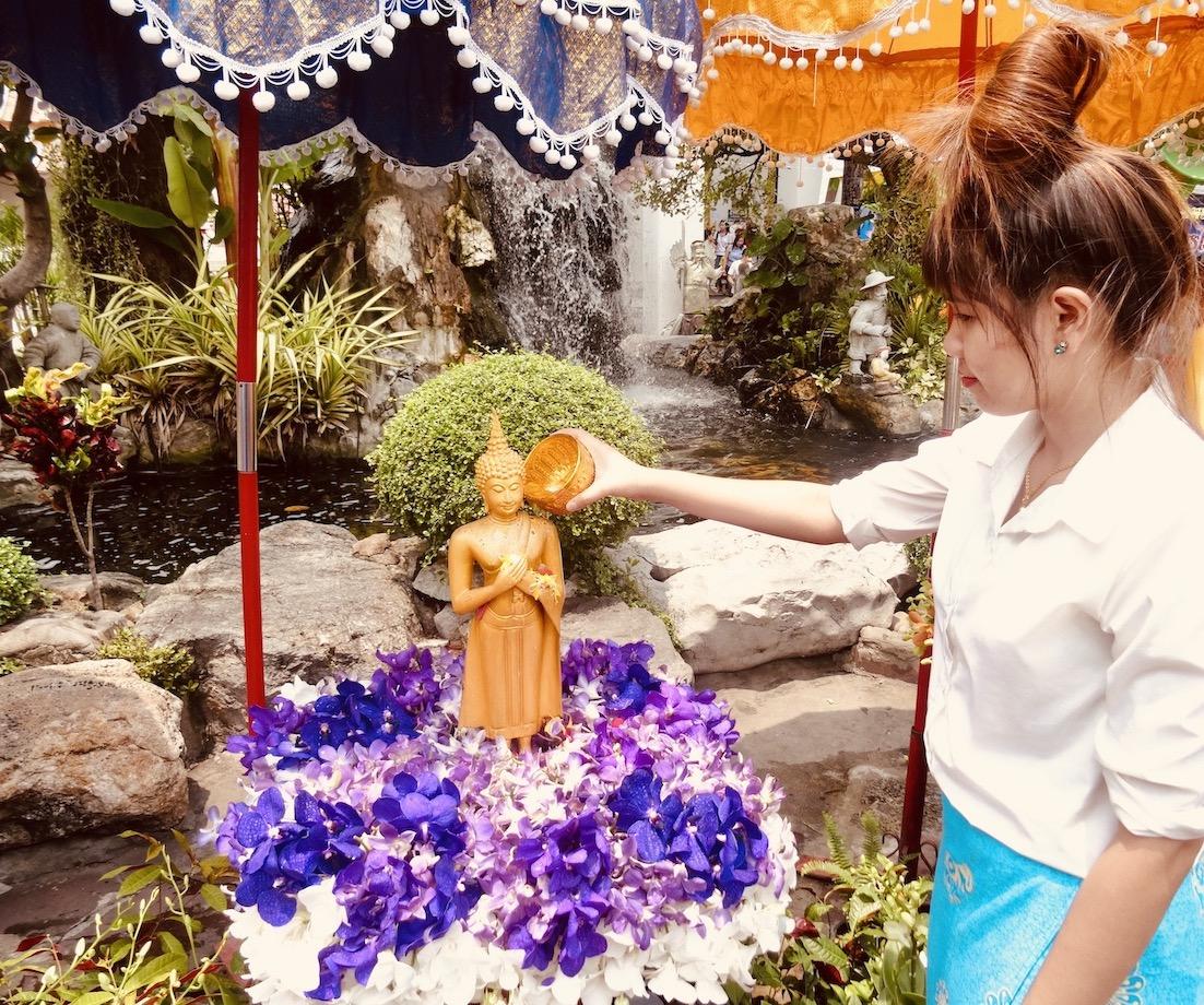 Buddha bathing ceremony Bangkok