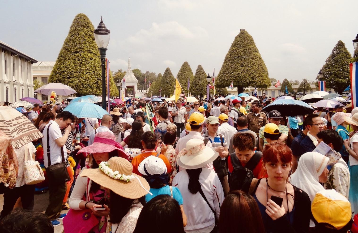 Crowds at The Grand Palace in Bangkok