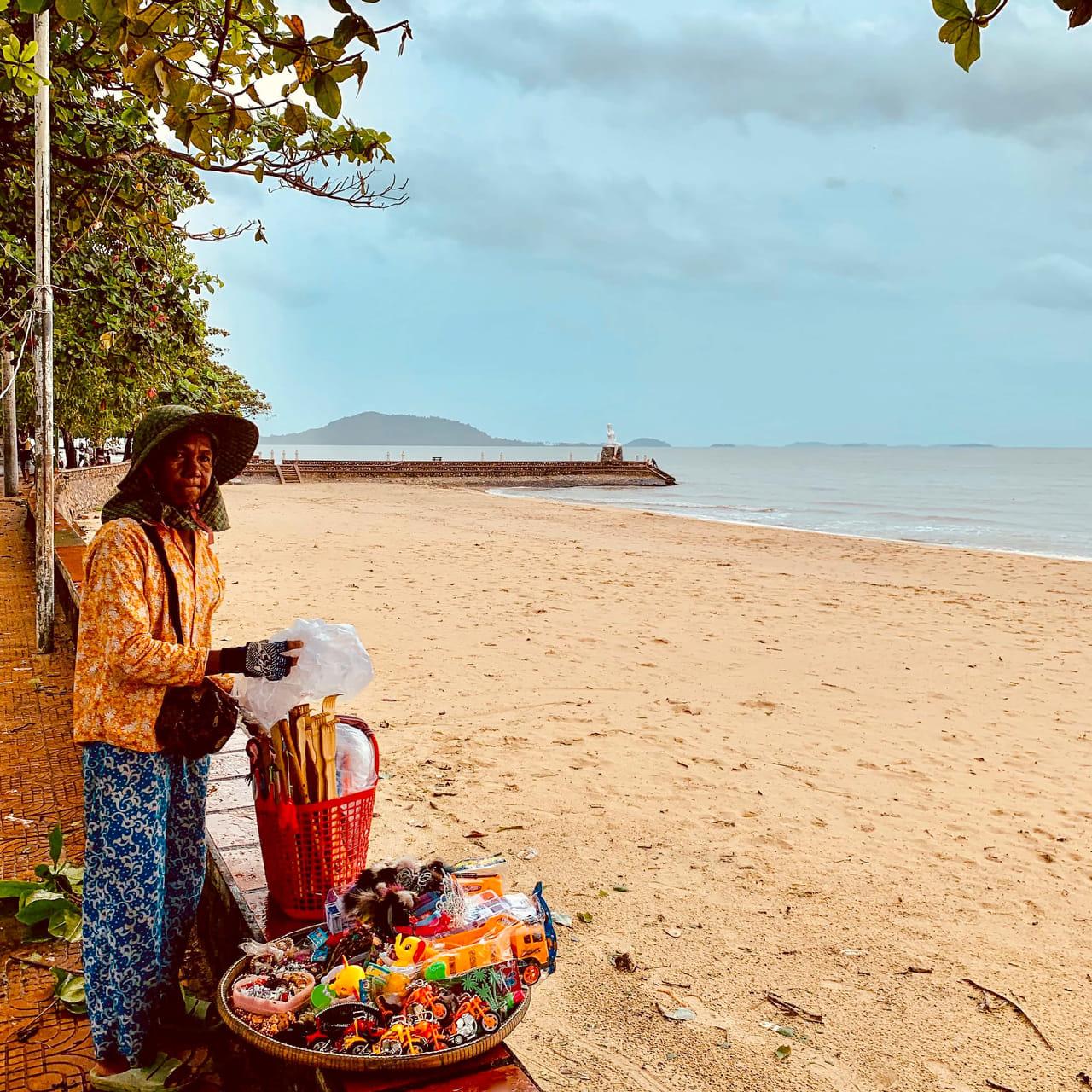 Fruit vendor Kep Beach Cambodia.