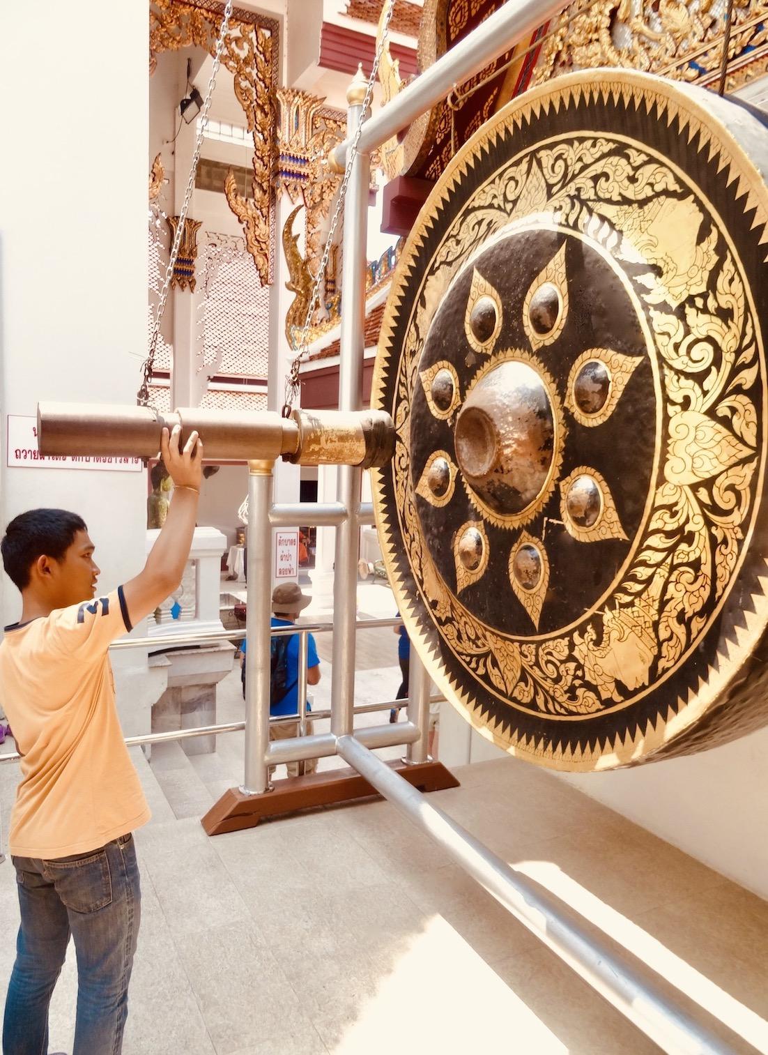 Giant metal gong Wat Saket The Golden Mount