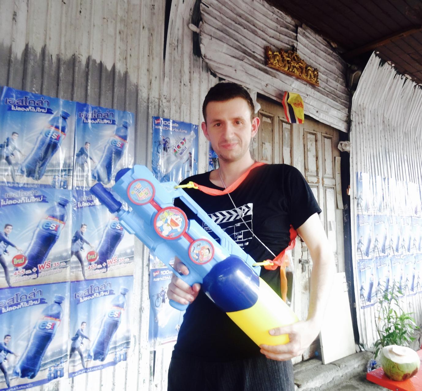 Giant water gun Celebrating Songkran in Bangkok