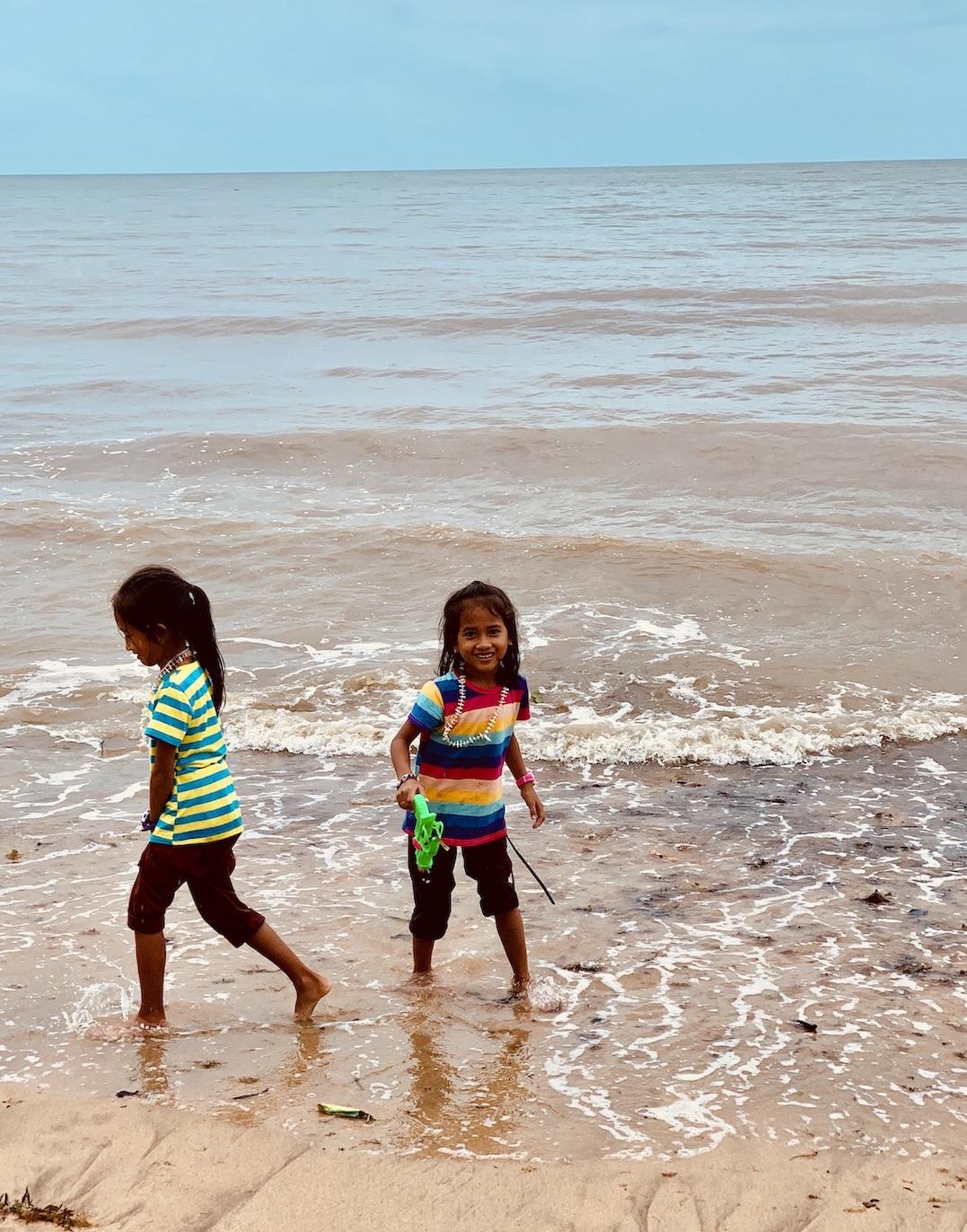 Khmer girls Kep Beach in Cambodia.