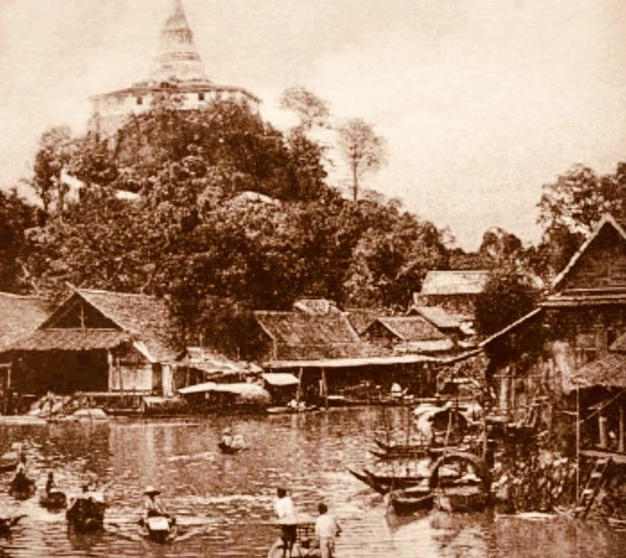 Wat Saket Bangkok in 1869.