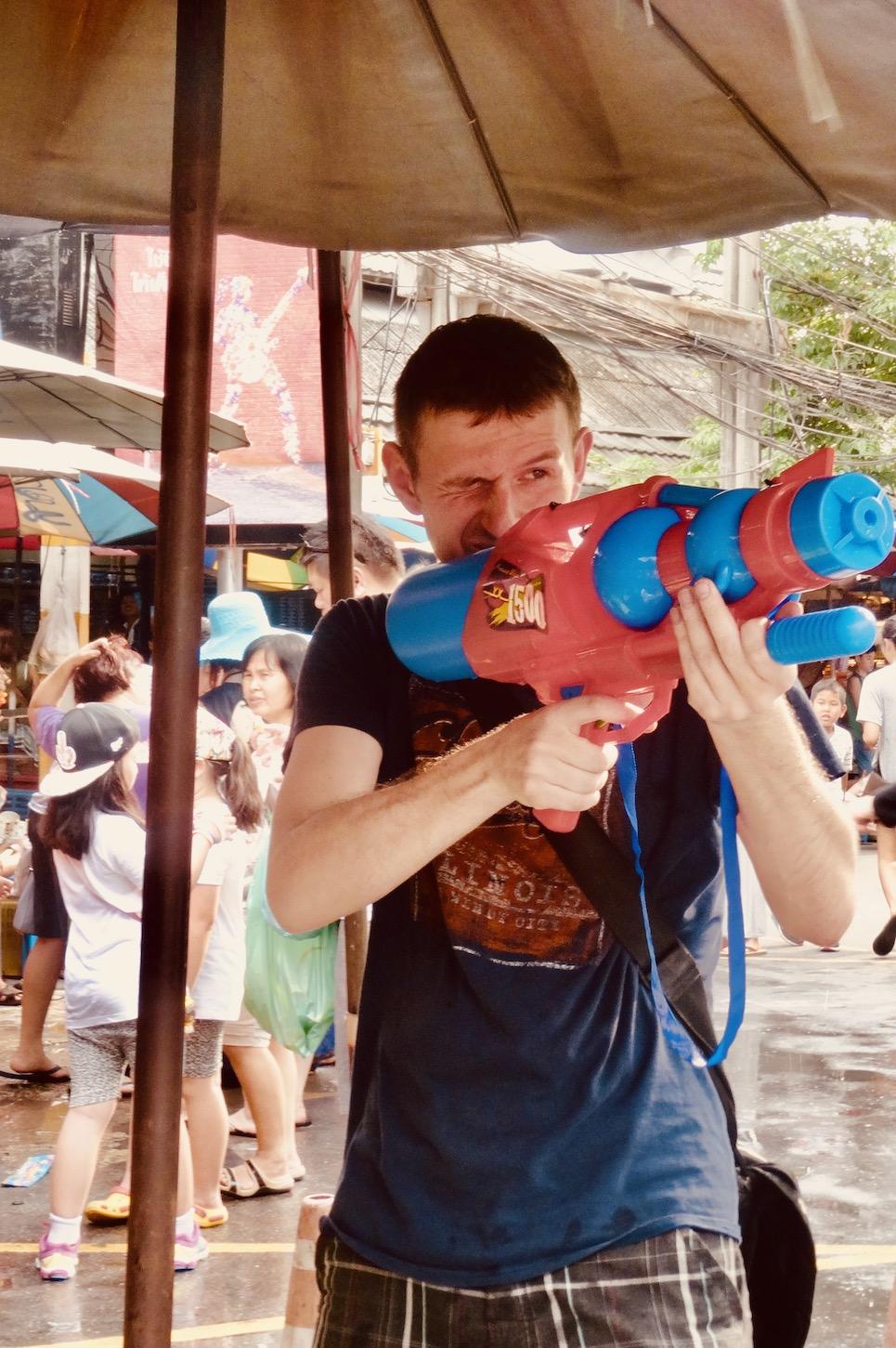 Water fights Celebrating Songkran in Bangkok