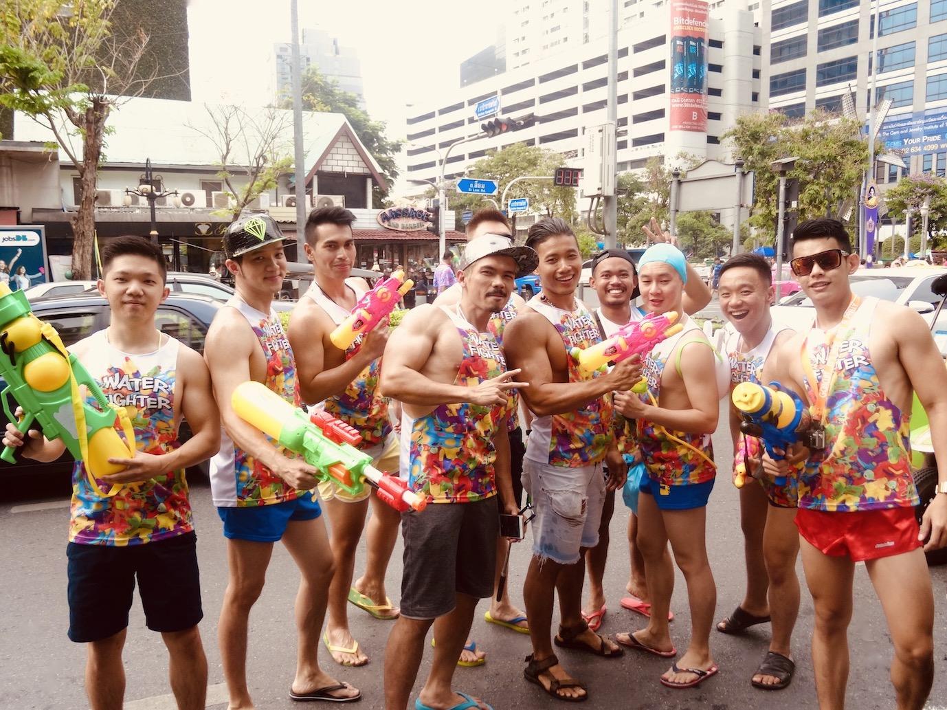 Water gun army Songkran Festival Bangkok