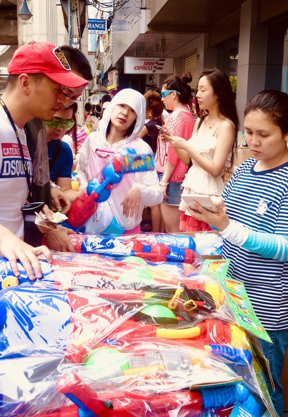Water gun market Celebrating Songkran in Bangkok