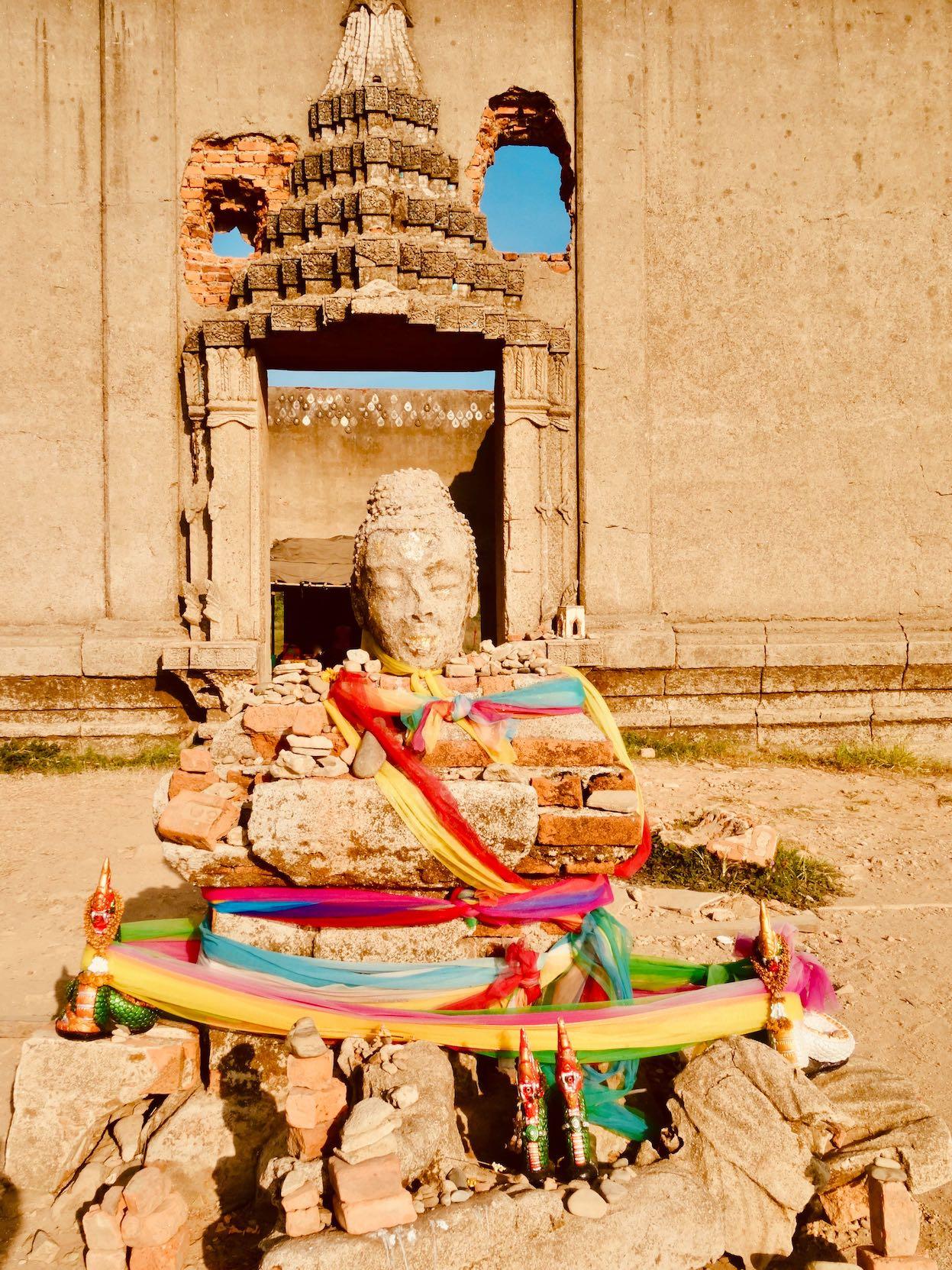 Ancient buddha statue Sangkhlaburi Thailand