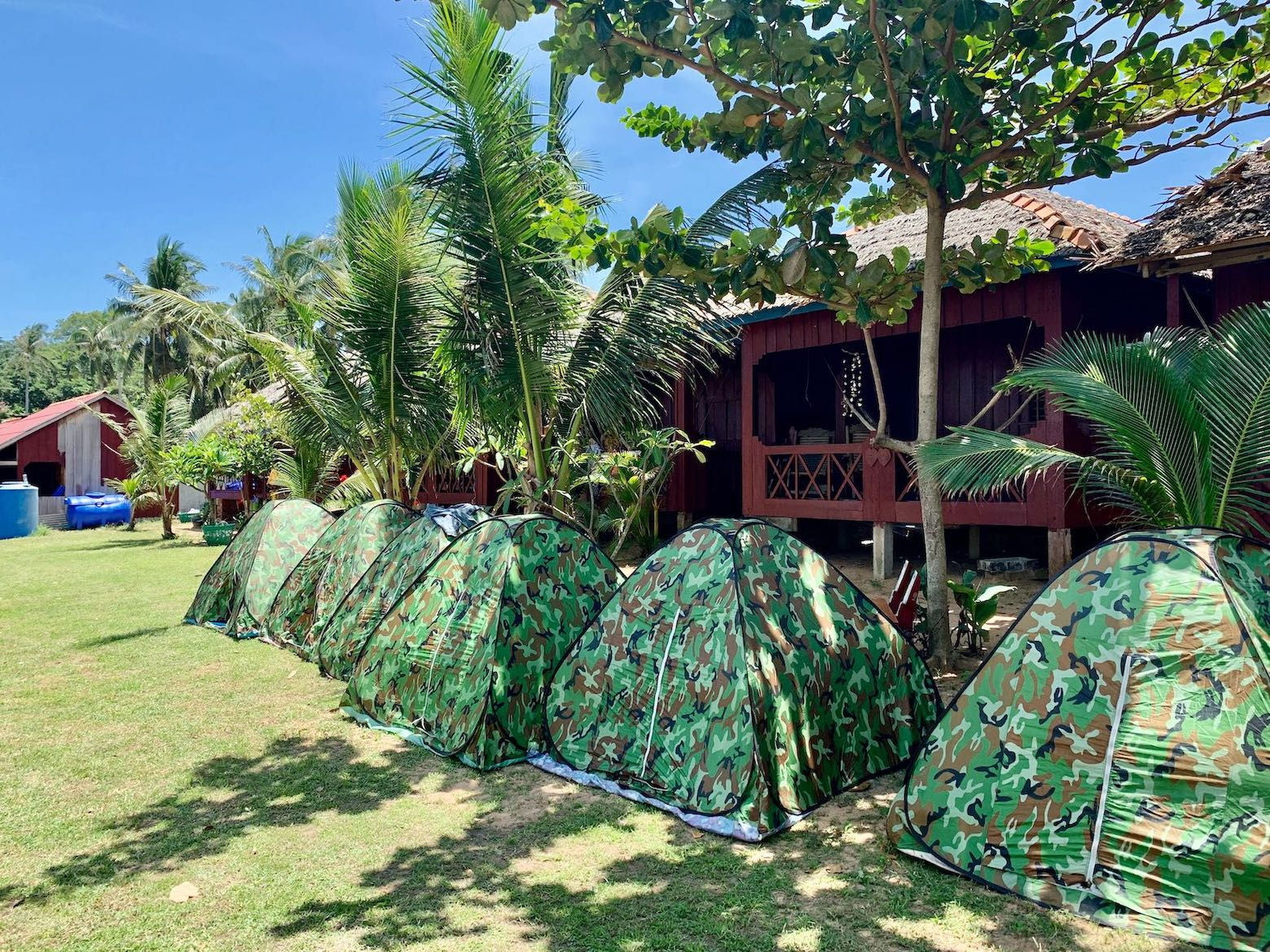 Beach tents Rabbit Island Kep.