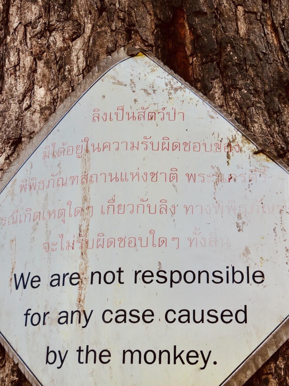 Beware of monkeys Phetchaburi Thailand