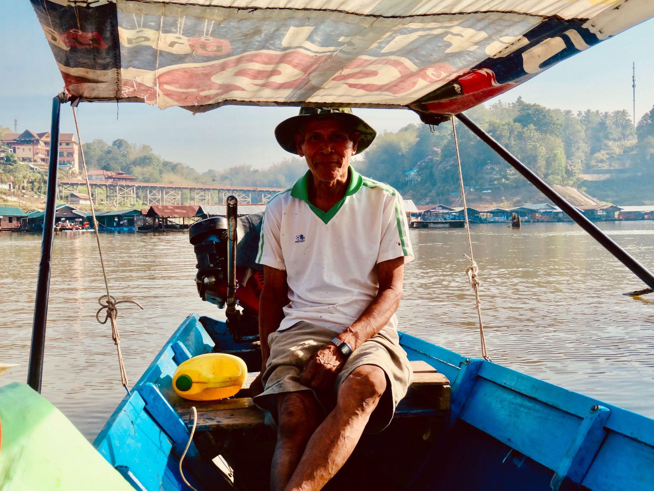 Boat cruise Sangkhlaburi Thailand.