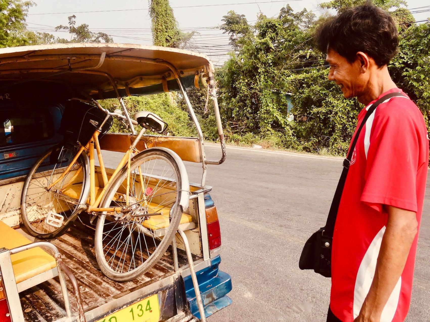 Broken bicycle Ayutthaya Historical Park.