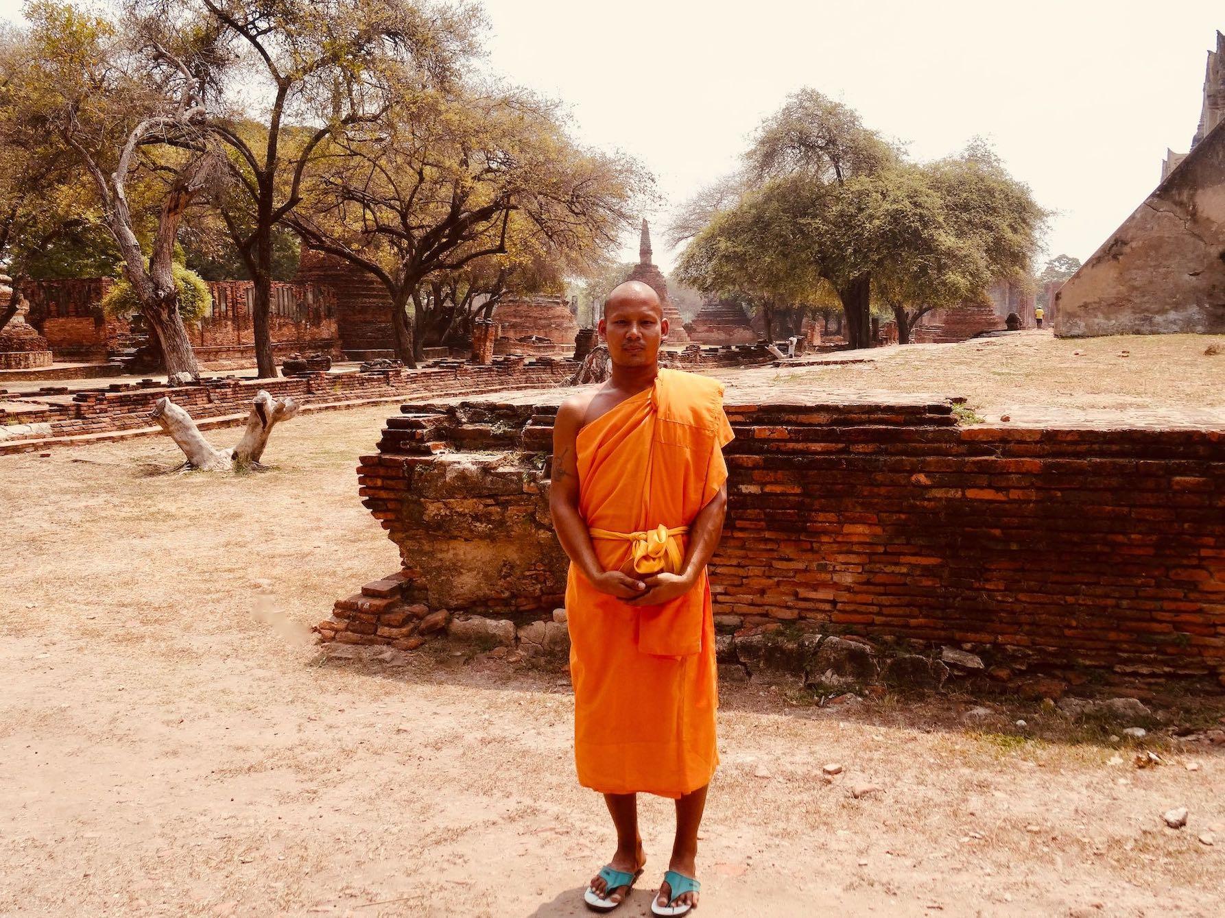 Buddhist monk Ayutthaya Historical Park.