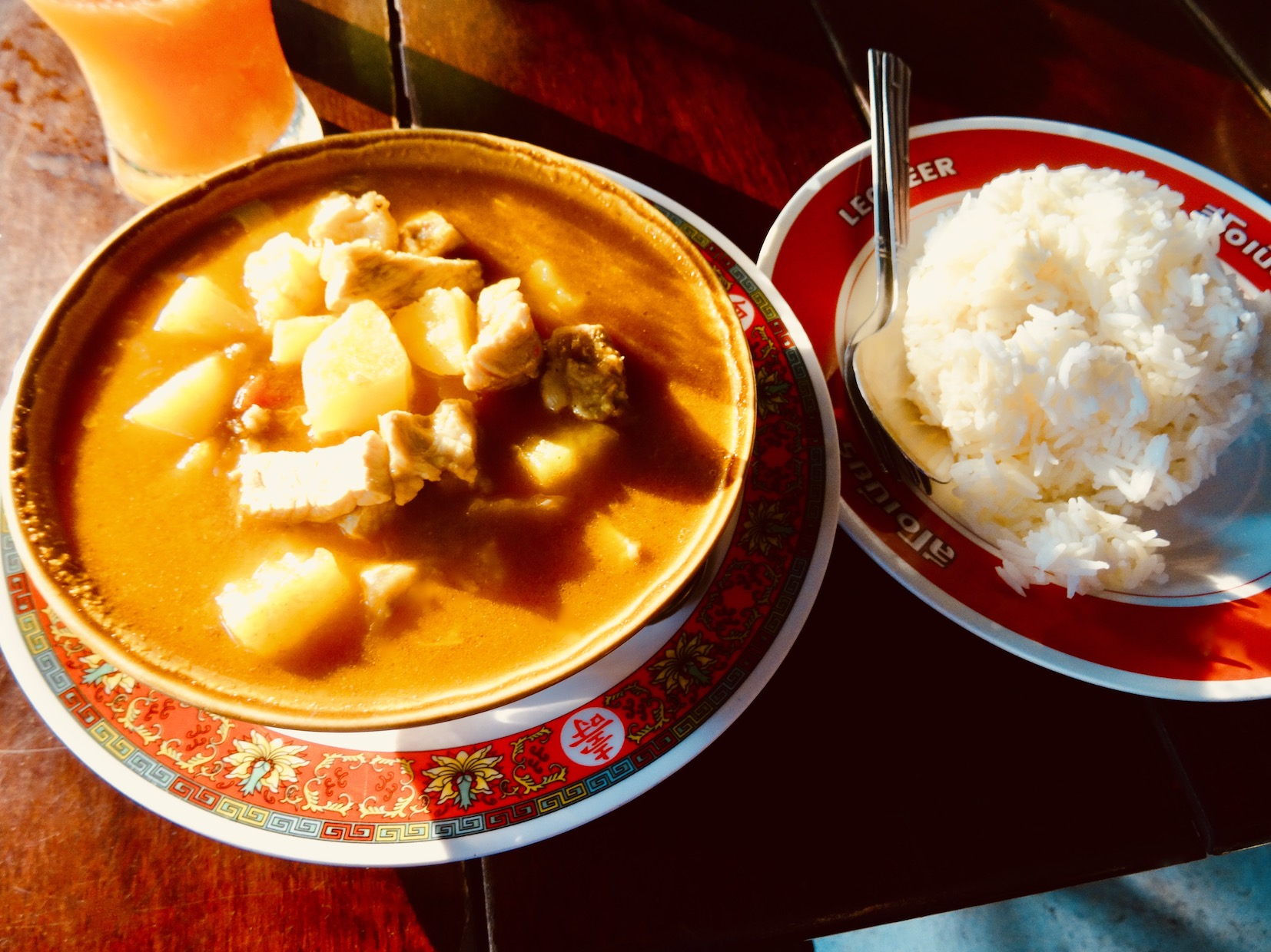 Burmese curry with white rice.