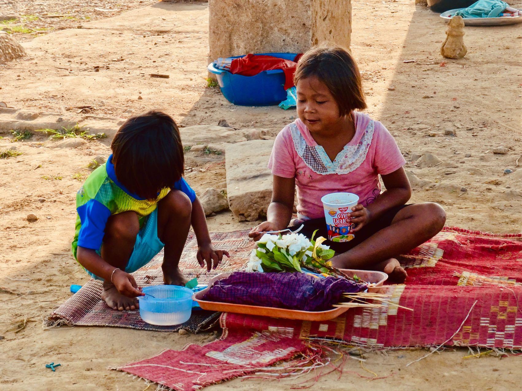 Children selling flowers Sangkhlaburi Thailand