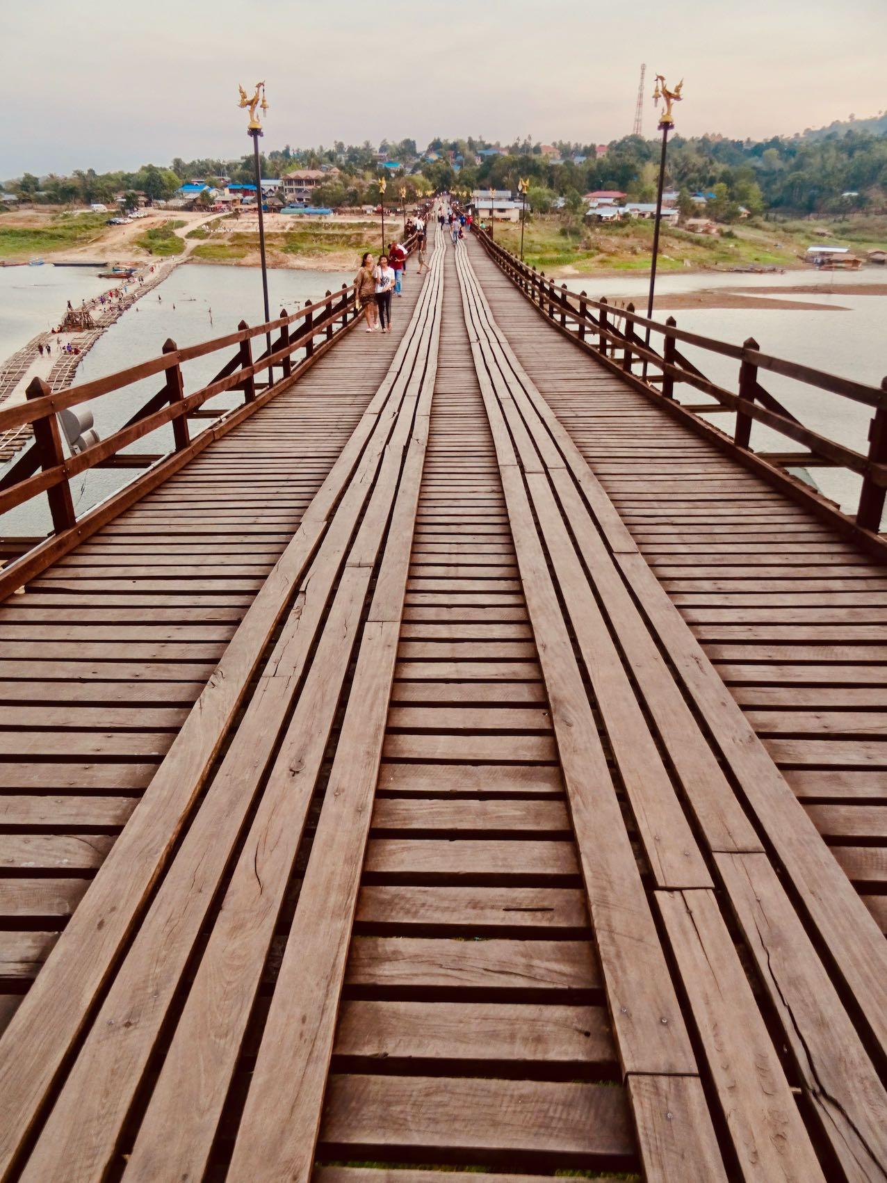 Crossing Mon Bridge in Sangkhlaburi.
