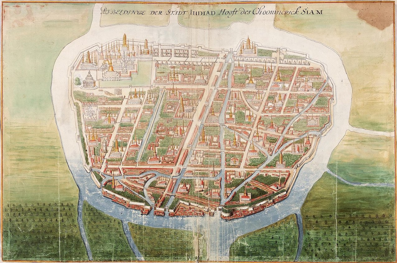 Historical painting of Ayutthaya by Johannes Vingboons 1665