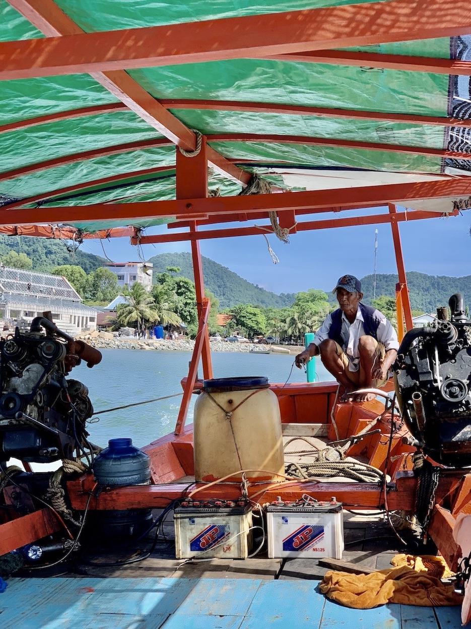 Khmer boat captain Kep Cambodia.