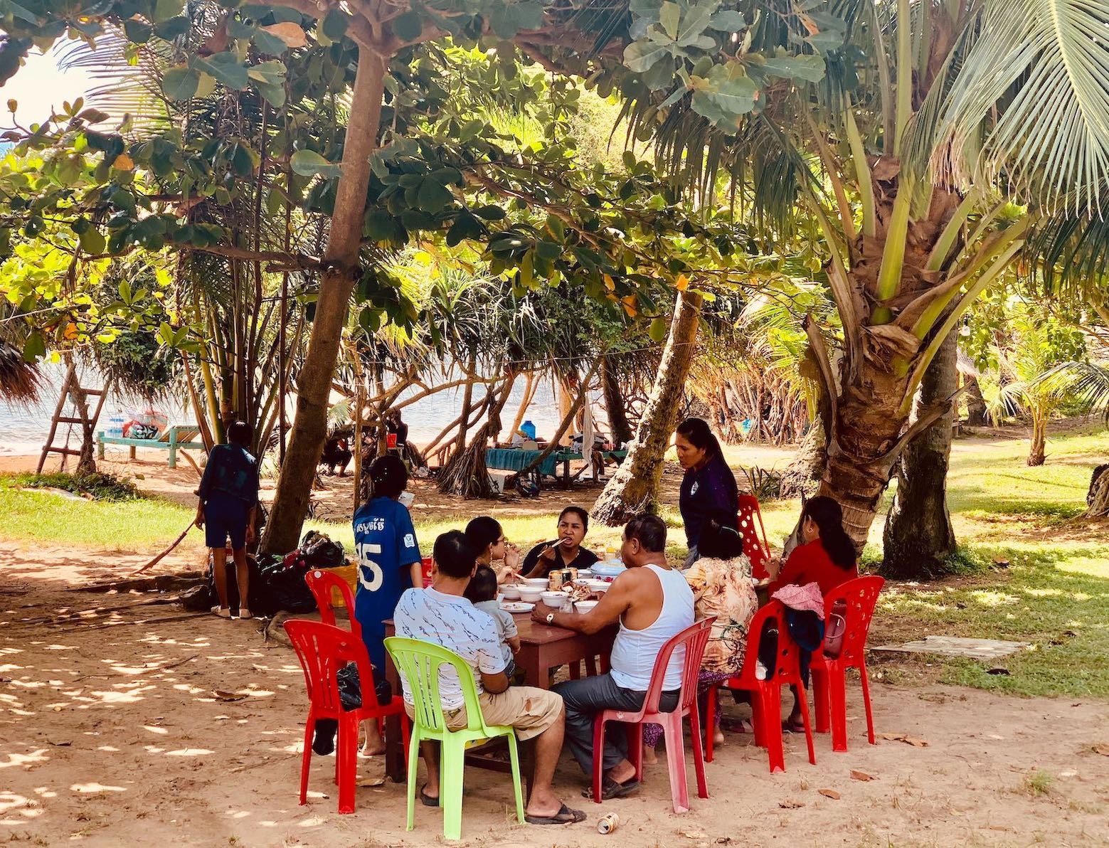 Khmer family picnic Rabbit Island Cambodia