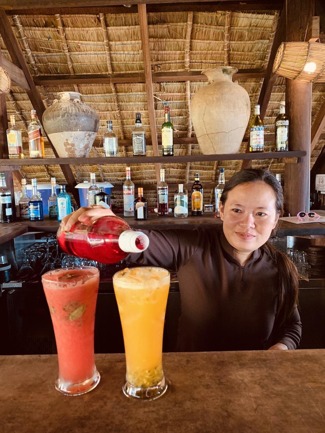 Mocktails at The Strand Restaurant in Kep.